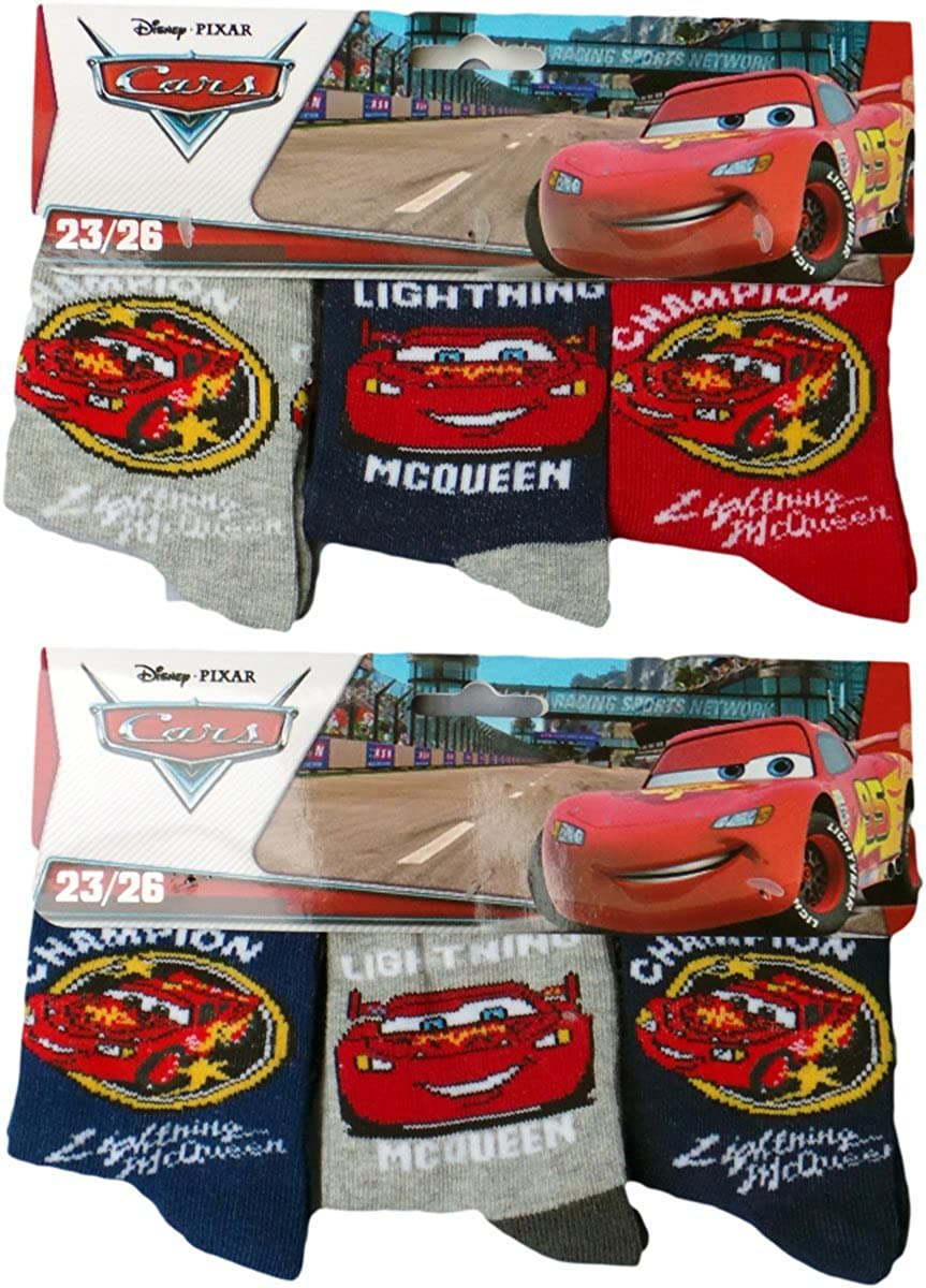 Disney Cars calcetines 6 Pack - Rayo McQueen - la Champion - azul/rojo/gris/Multicolor: Amazon.es: Ropa y accesorios