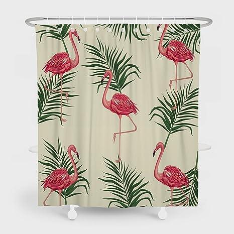 Cortinas de ducha resistentes al moho de Summor, hojas de flamenco para la palma,