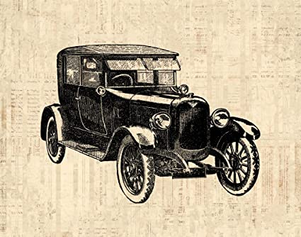 Amazon.com: Antique Car Wall Art Print for Home Decoration Vintage ...
