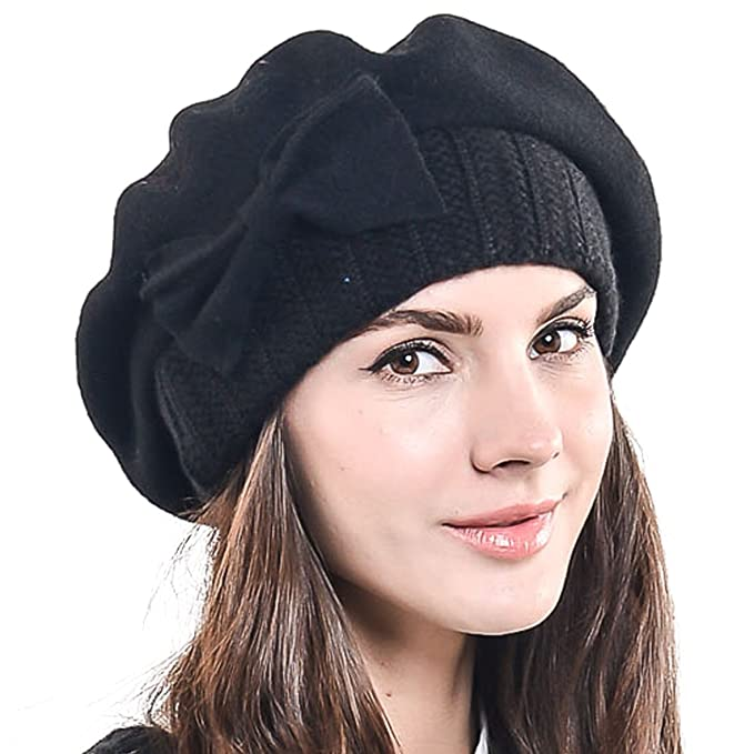 9a9430ea F&N STORY Lady French Beret Wool Beret Chic Beanie Winter Hat Jf-br034 (Bow
