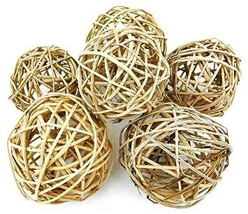 set of 6 natural willow decorative balls 3 12 4 inch - Decorative Orbs