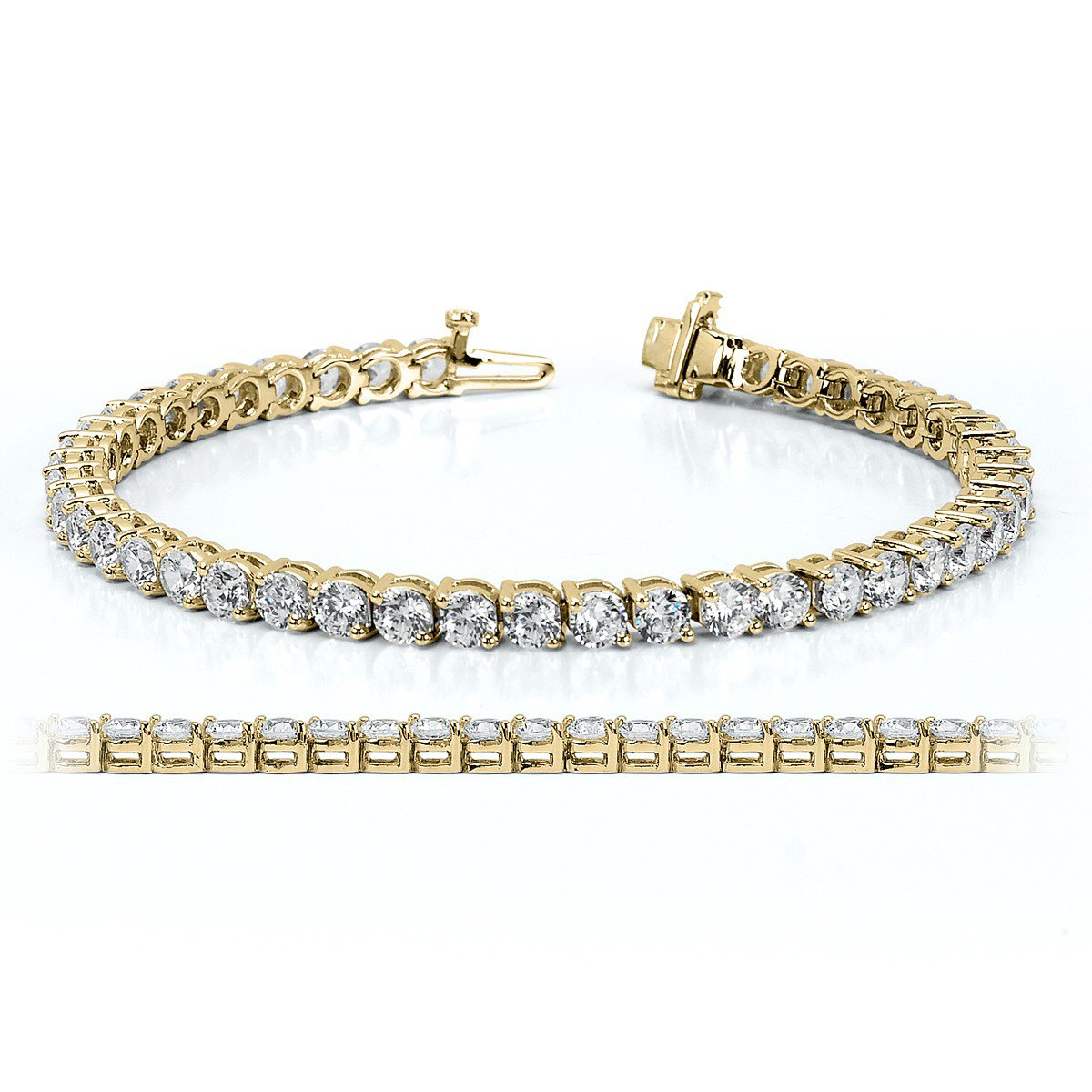 NYC Sterling Women 4MM Round Cubic Zirconia Tennis Bracelet In Rhodium & Gold Plated, 7.5 Inches (brass-plated-gold)