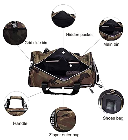 ab23500fd7 Mens Shoulder Bag or Holdall Gym Bag Water-Resistant Travel Duffle Bag  Sports Duffel Bag with Shoes Compartment for Travel