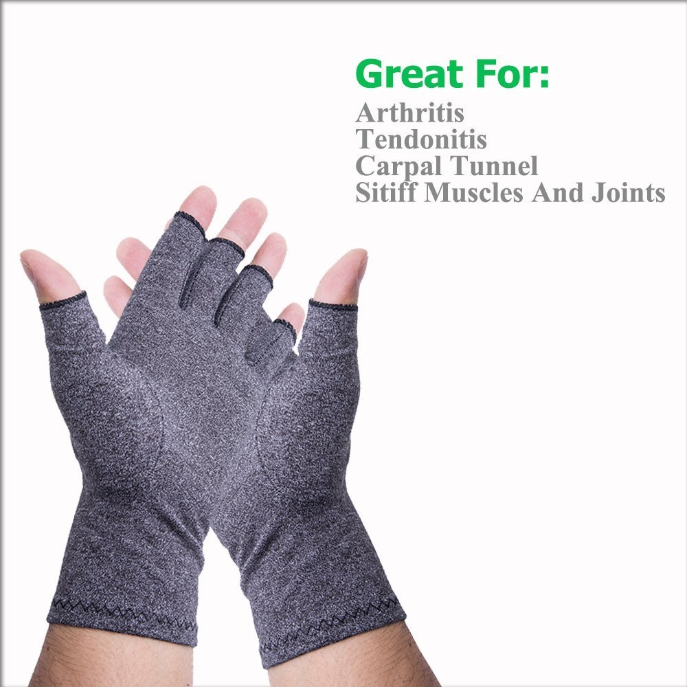 Dr.Jin's Arthritis Compression Gloves Warmth for Women Fingerless Gloves for Men Relief of Rheumatoid and Osteoarthritis Joint Pain RSI Carpal Tunnel,Easy Gloves for Computer Typing Daily Work