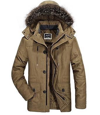 a57c64203bbc WLITTLE Herren Wärmejacke Parka Jacke Plus Kaschmir Winterjacke Kapuze  Übergangsjacke Kapuzenparka Jacket Mantel Wintermantel Männer Winter