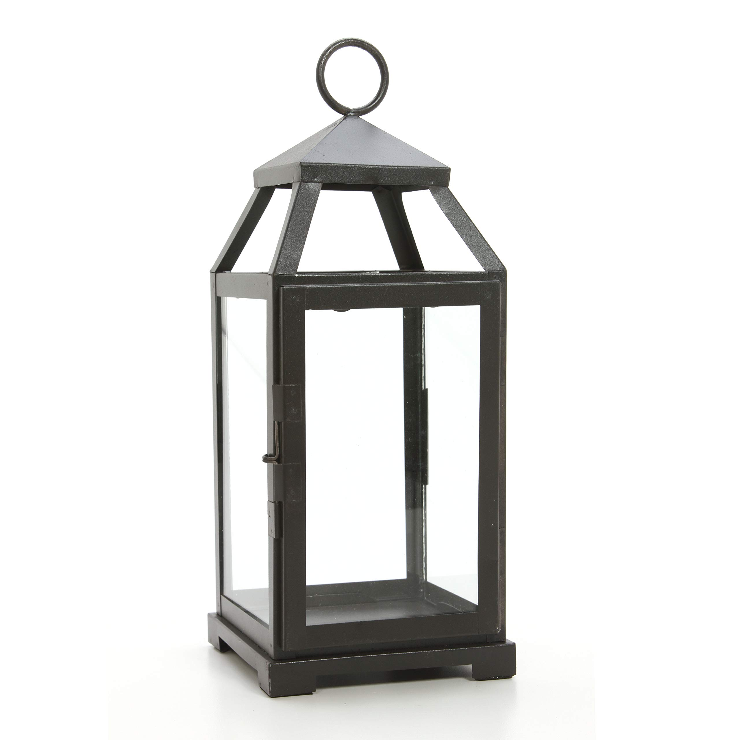 Hosley 14'' High Large Clear Glass & Iron, Classic Style Lantern. Ideal Gift for Festivities, Parties, Weddings, Aromatherapy and LED Spa Settings. 05