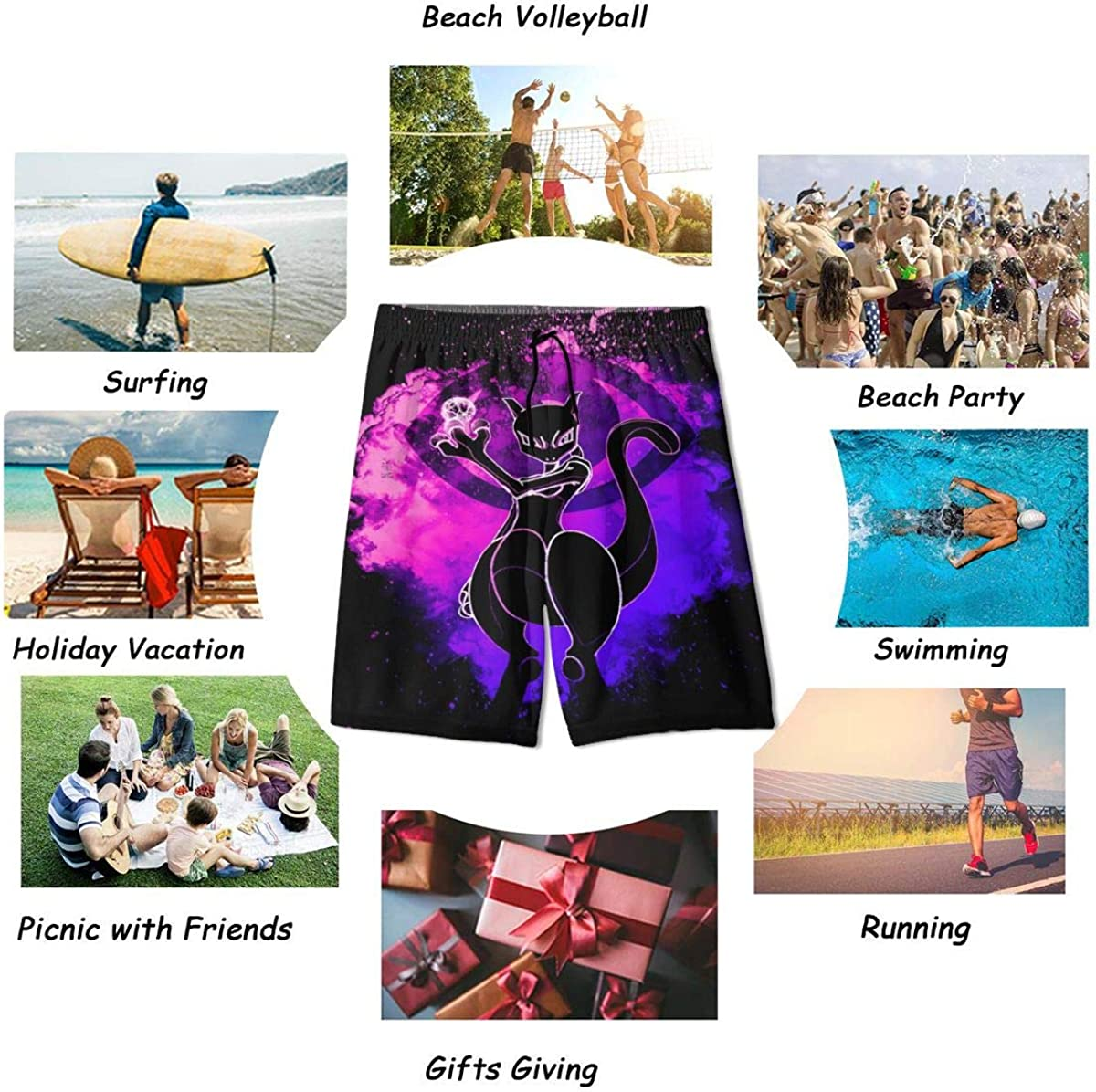 Ehungee Pok/é mon Mewtwo Graphic Teens Boys Swim Trunks Quick Dry Board Shorts