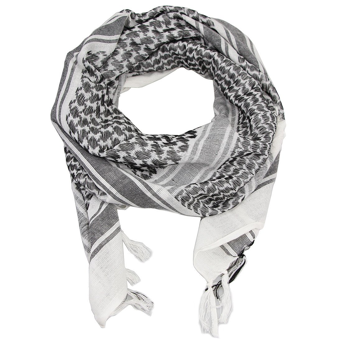 100% Cotton Tactical Shemagh Military Desert Shawl Head Neck Scarf Wrap For Men Women, White & Black, One Size