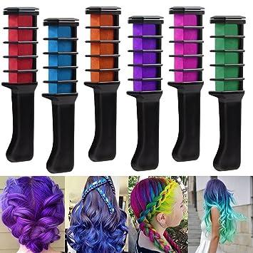 Rechoo 6pcs Hair Chalk Comb Dye Shimmer Temporary Hair Color Cream ...
