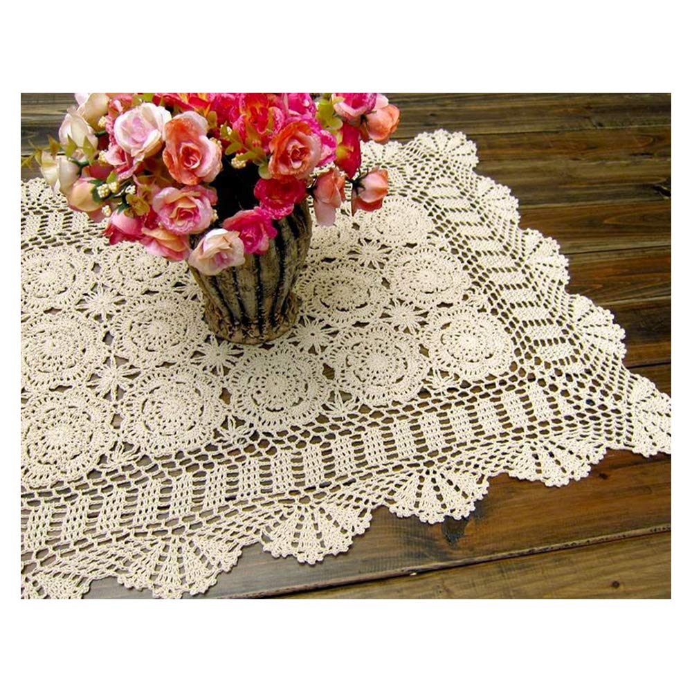 Laivigo Handmade Crochet Lace Rectangle Lucky Flower Table Cloth Runner Doilies Doily,Beige,20x47 Inch