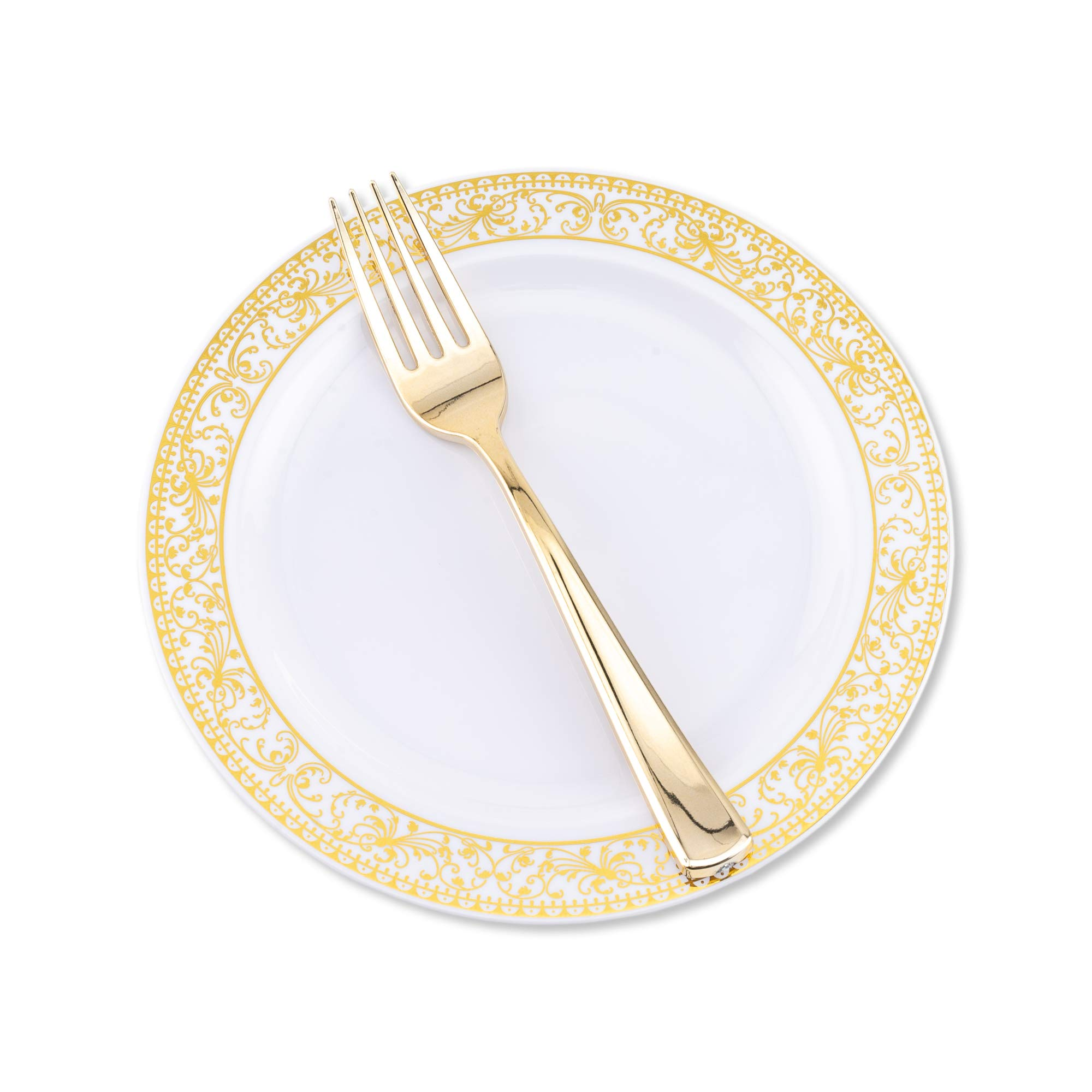 100 pc Premium Gold Rimmed Plastic Disposable Plates With Golden Fork Included Nice Upscale Elegant Dessert Plate and Fork Set-Achor 7.5 Inch Gold Trim Plastic Plates