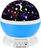 Mkqpower Moon Star Lighting Lamp, 4 LED perline lampada romantica rotante Relaxing Mood Light soffitto proiettore Baby nursery camera da letto della stanza di bambini e regalo di Natale