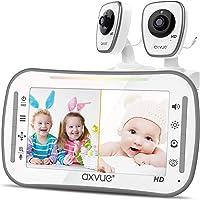 "[HD] Video Baby Monitor, AXVUE 720P 5"" HD Display, IPS Screen, 2 HD Cams, 12-Hours Battery Life, 1000ft Range, 2-Way…"