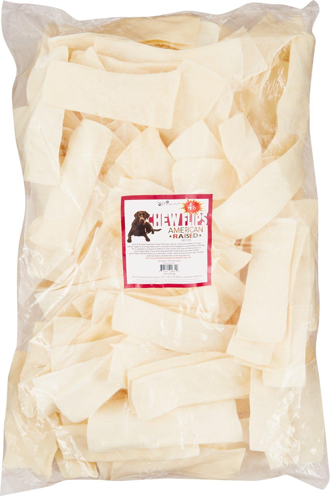Pure & Simple Pet 6322 Rawhide Chew Flips, 4 lb