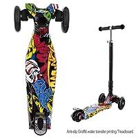 Keelied Kinder Tretroller Kickboards Funscooter Scooter Klappbar 3-Rad mit LED Räder für Kinder ab 3 Jahre bis 75kg Lenker 77CM-87CM