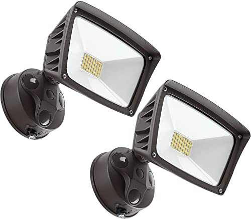 LEONLITE LED Outdoor Flood Light, Dusk-to-Dawn Photocell Included , 3400lm, Waterproof Security Floodlight, ETL-Listed Exterior Lighting for Yard, 5000K Daylight, Pack of 2