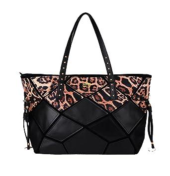 High Fashion neueste kaufen diversifiziert in der Verpackung LI&HI Damen Handtasche Shopper Schwarz Super Leichte Leopard Schwarze Große  Handtasche - 39x33x11 cm(B * H * T)