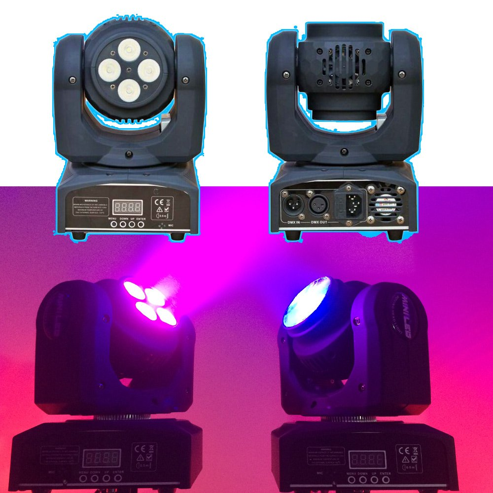 4x10w Cree LED moving head mini effetto luce LED 8 potenti LED 15/21 canali controllo musicale multicolore discoteca testa mobile Double face
