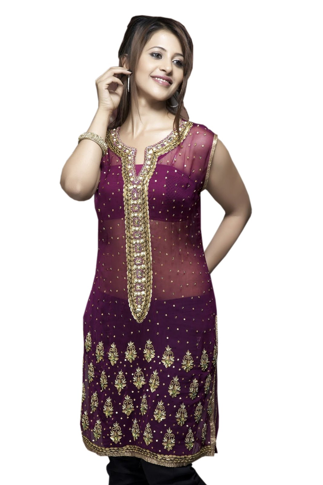 Rose Georgette Ladies Tunic Top for Women (l)