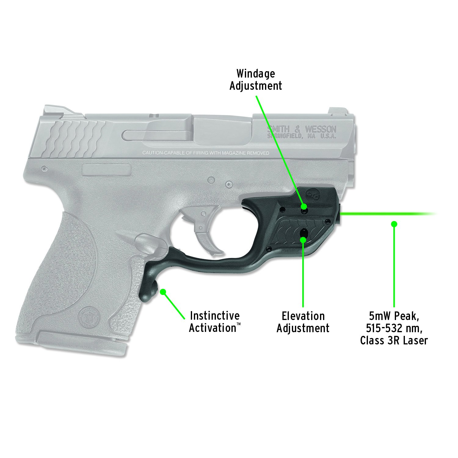 Crimson Trace LG-489G Laserguard Green Laser Sight for Smith & Wesson M&P Shield Pistols by Crimson Trace (Image #1)