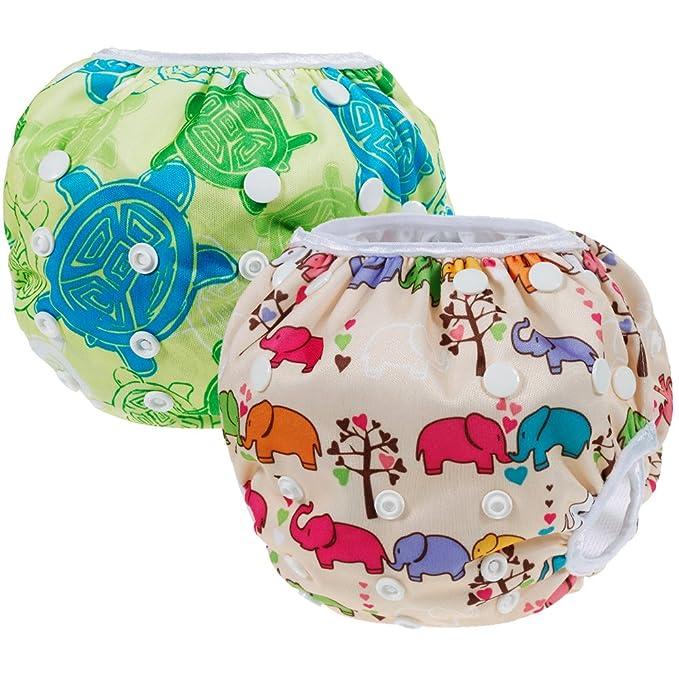 Anpro Bebé Pañales de natación para niños pantalones a prueba de fugas ajustable reutilizable
