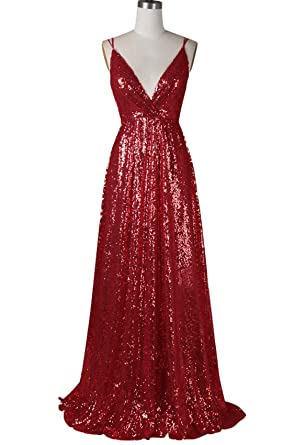 ff2c02923bc XJLY V-Neck Spaghetti Straps Rose Gold Sequin Bridesmaid Dresses Evening  Gown at Amazon Women s Clothing store
