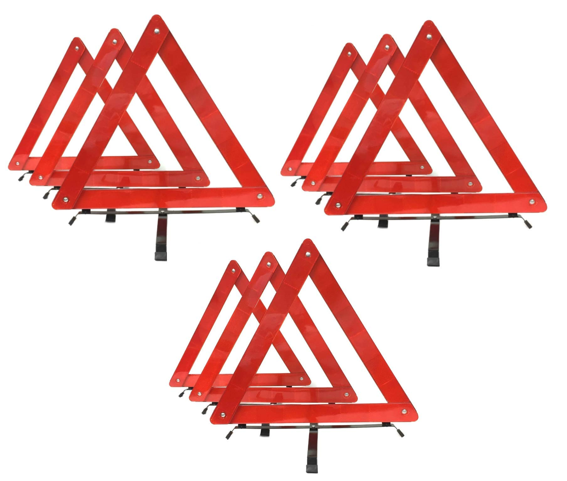 BRUFER 9-Pack Emergency Roadside Safety Triangle with Reinforced Cross Base and Carrying Case