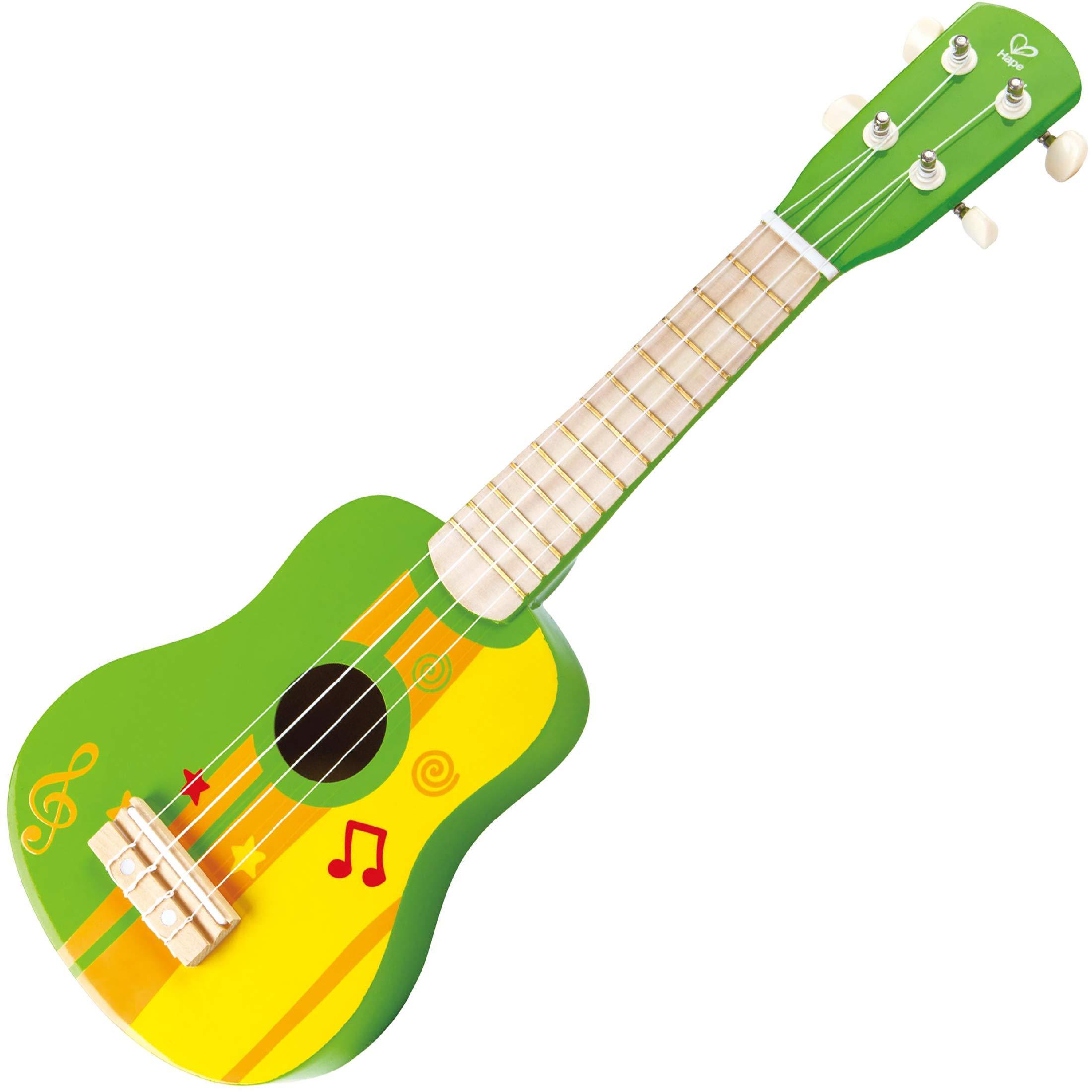 Kids Ukulele Toy Guitar for Toddlers - Hape Wooden Ukulele Kids Guitar for Girls or Boys; Starter Acoustic Hawaiian Ukulele Musical Instrument (Green) by Hape