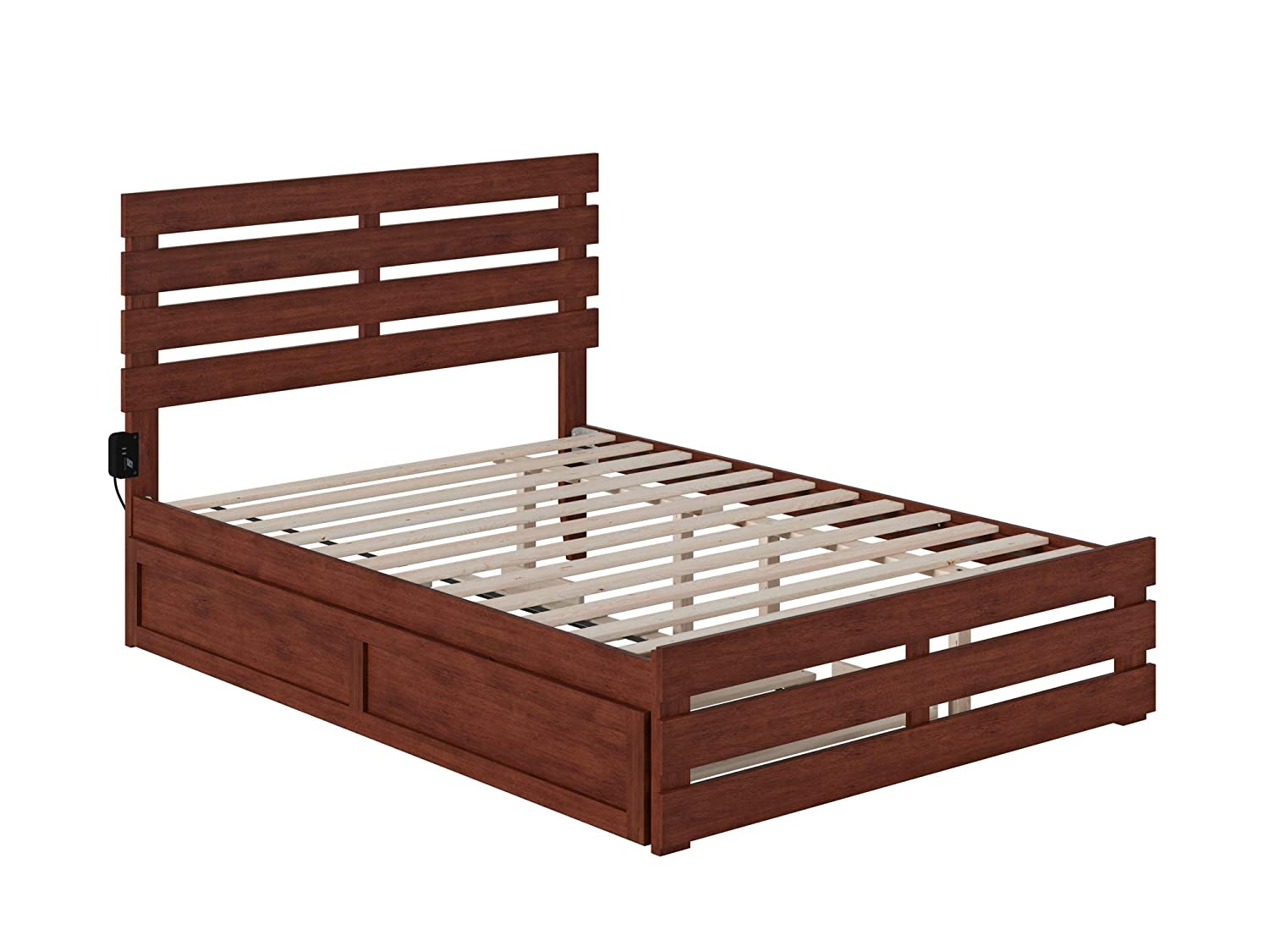 Atlantic Furniture Oxford Bed with Footboard and USB Turbo Charger with Twin Trundle, Full, Walnut