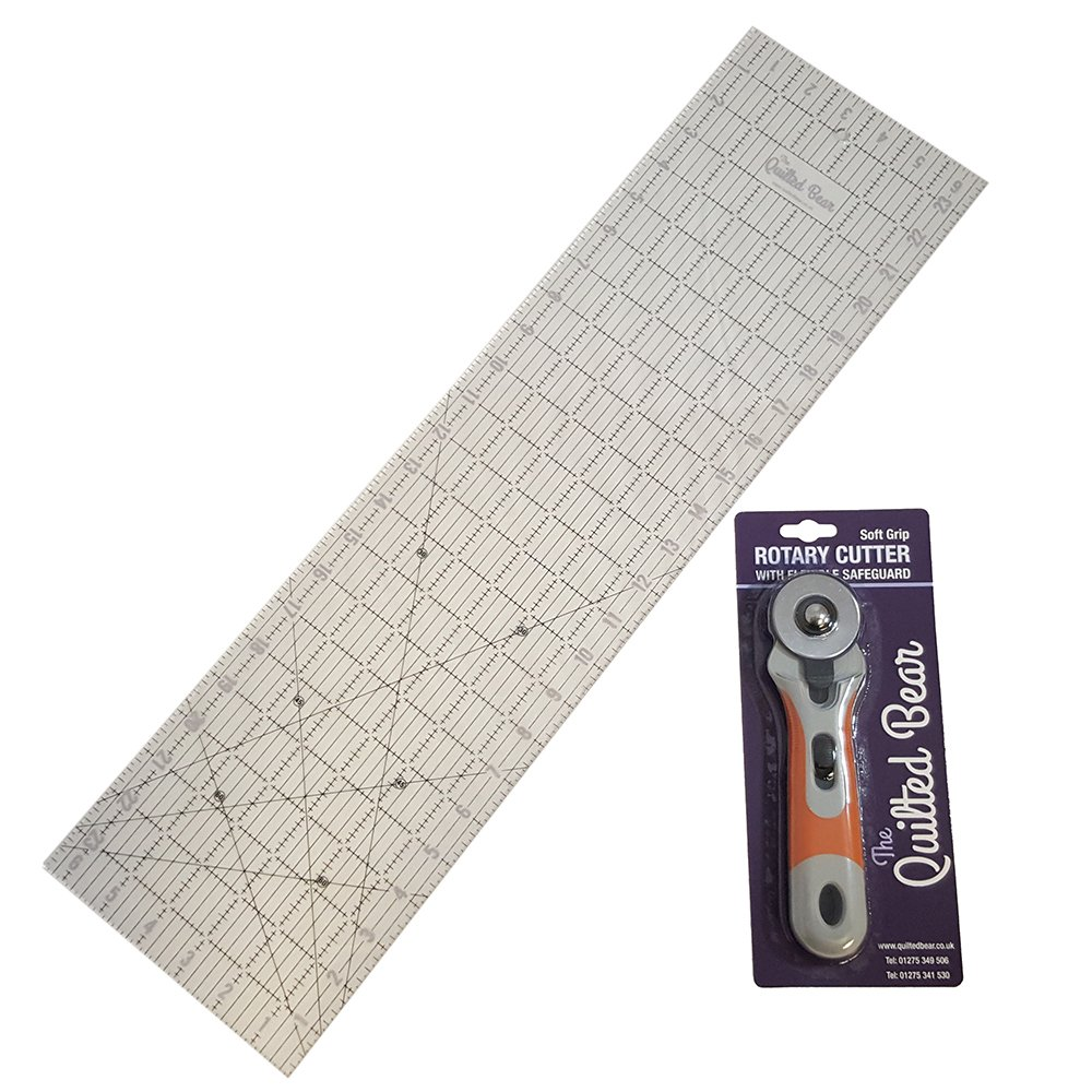 Quilted Bear 24 x 6.5 Patchwork/Quilting Ruler + 45mm Soft-Grip Rotary Cutter