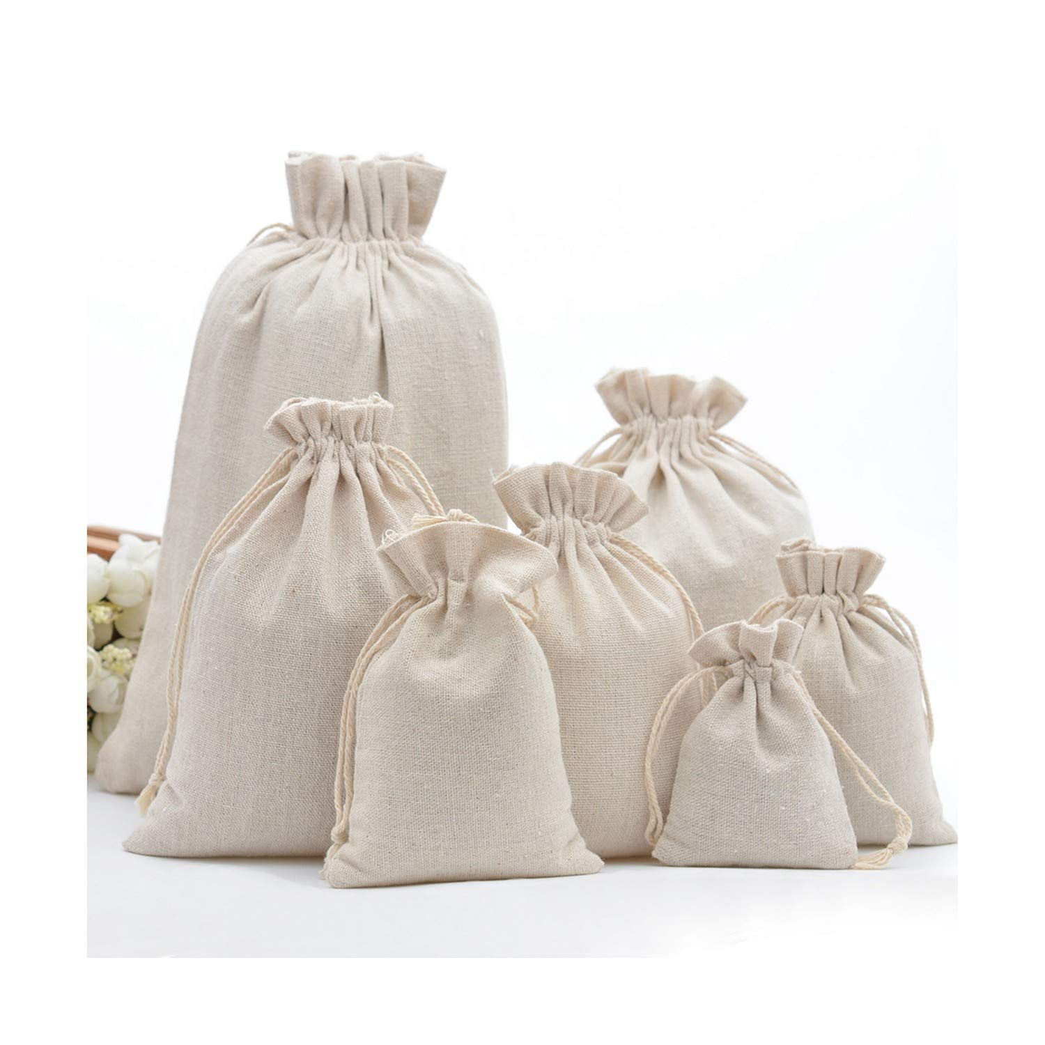 Handmade Cotton Drawstring Packaging Gift Bags for Coffee Bean Jewelry Pouch Storage Wedding Favors Rustic Folk Christmas by Saglleom