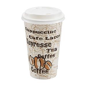 AmazonBasics Hot Cups with Lids, Café Design, 16 oz, 100-Count