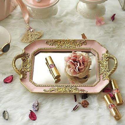 Bandejas para cosméticos,Estilo europeo Retro Bandeja de joyas vintage rectangular de vidrio con base