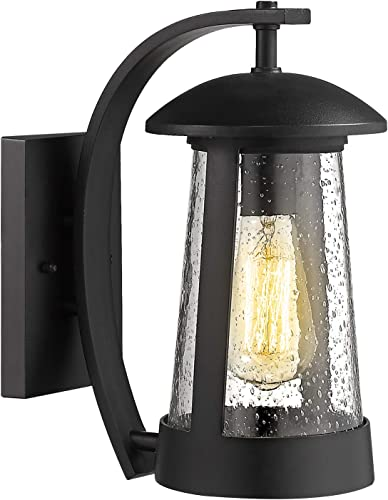 Zeyu Exterior Wall Light Fixture, 13 Inch Outdoor Wall Sconce Wall Lamp for Porch Patio, Black Finish with Seeded Glass Shade, 0346-WD
