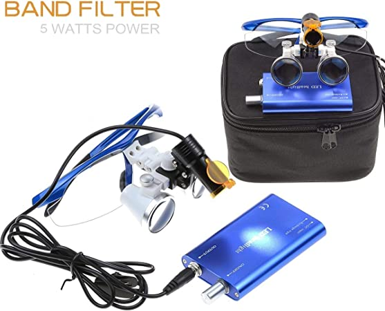 noir Lampe frontale portable /à LED 5 W avec filtre 3,5 x 420 mm Distance de travail chirurgicale Loupes jumelles en verre optique /Étui en tissu