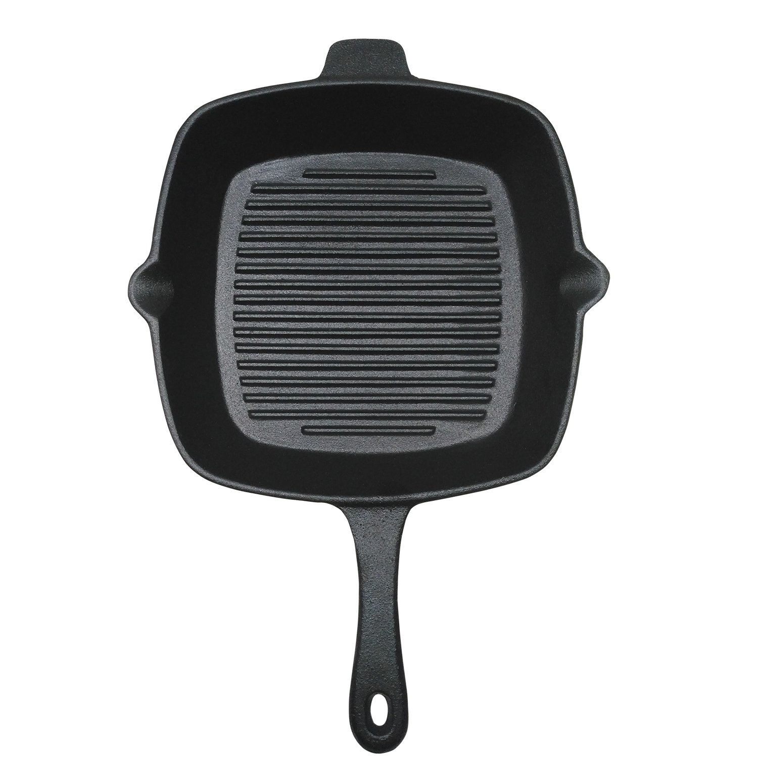 ROYAL KASITE 10.5-Inch Preseasoned Cast Iron Square Grill Pan, Black Scip XG265