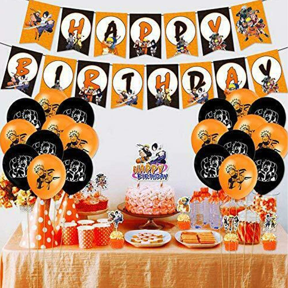 Birthday Cards Naruto Birthday Party Decorations,Fit For Fans Naruto Balloons Including Happy Birthday Banners Adults Girls Boys Glue Coils