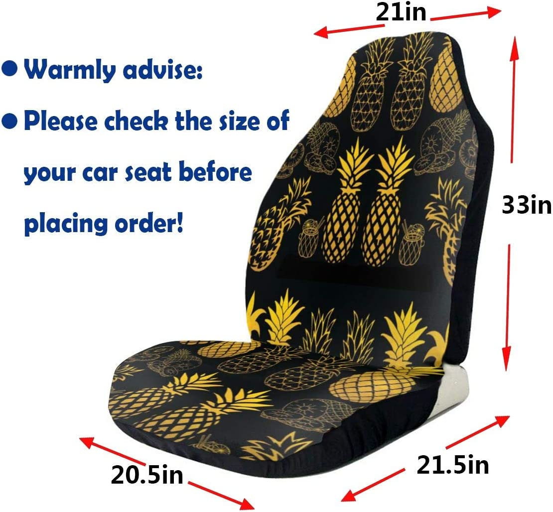 Pineapple Print Characterize Car Seat Cover Premium Waterproof Car Seat Cover Case Adjustable Universal Auto Seat Cover Nonslip Comfortable Automotive Accessories for Most Vehicle Sedan