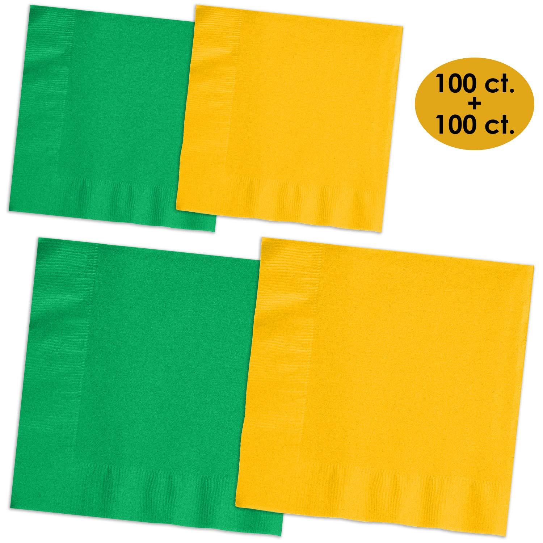 200 Napkins - Emerald Green & Sunshine Yellow - 100 Beverage Napkins + 100 Luncheon Napkins, 2-Ply, 50 Per Color Per Type