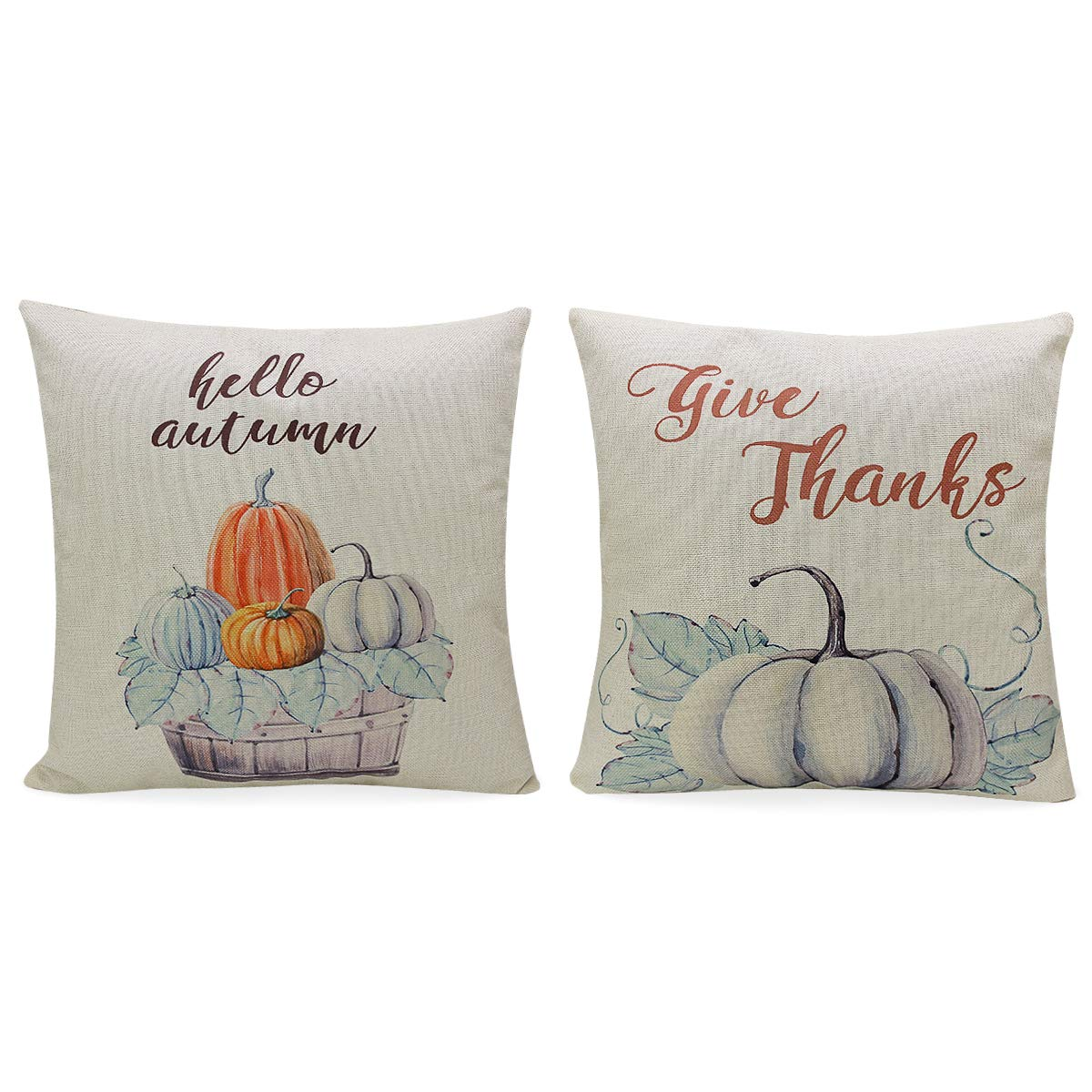 CREATIVE DESIGN Happy Thanksgiving Pumpkin Pillow Case Cotton Linen Pillow Cover Cushion Cover for Sofa Thanksgiving Autumn Home Décor 18X18 Inch, Set of 2