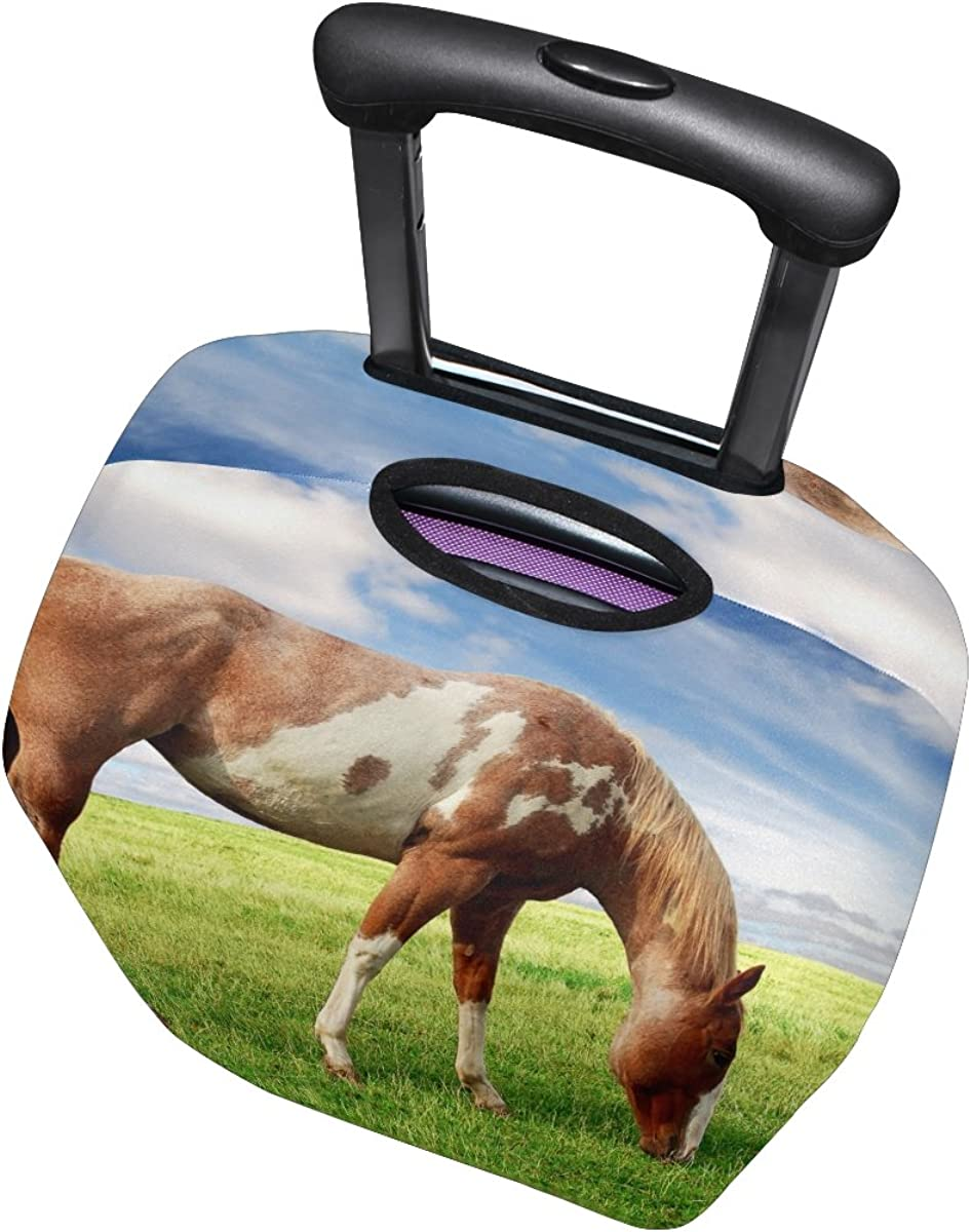 Horse Pattern Print Luggage Cover Travel Suitcase Protector Fits 18-21 Inch Luggage