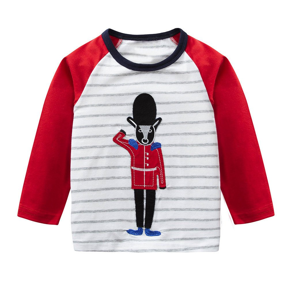 Baby Boy Girl Long Sleeves T-Shirt Cartoon Striped Shirt Clothes Toddler Soft Sweatshirt Autumn Tee Clothes Casual Undershirt Outfits for 1-6 Years Old Kid