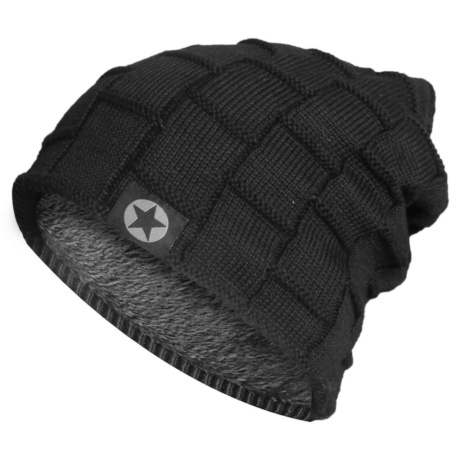 c88eff43123 DG Hill Mens Winter Hat and Gloves Set with 3M Thinsulate Fleece Lining  Beanie Black One ...