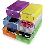 ONEDONE Foldable Plastic Shoes Boxes Container For Closet Organizer,Set Of 6