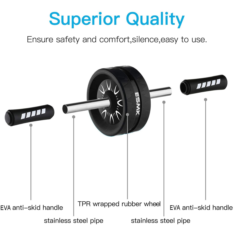 ESMK Ab Roller Rueda Abdominal Mejor Fitness Workout Para Los Músculos Abdominales Ldeal Para Ejercitar Los Abdominales, Para Hombres Y Mujeres.