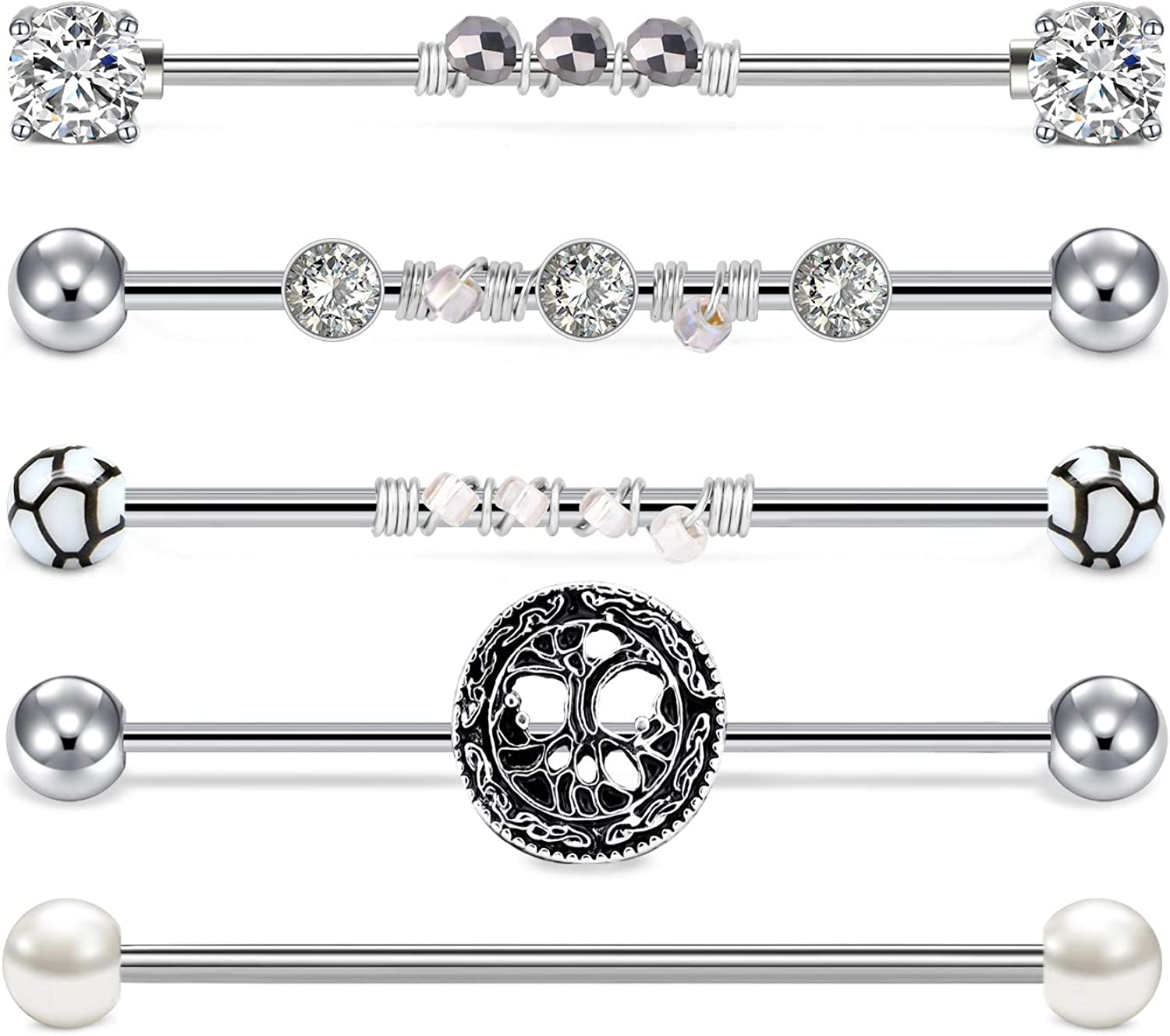 JFORYOU 5pcs 14G Stainless Steel Industrial Barbell Earrings Bead Winding Style Vintage Style CZ Cartilage Body Piercing Jewelry 38mm 1&1/2 Inch Industrial Piercing Bar