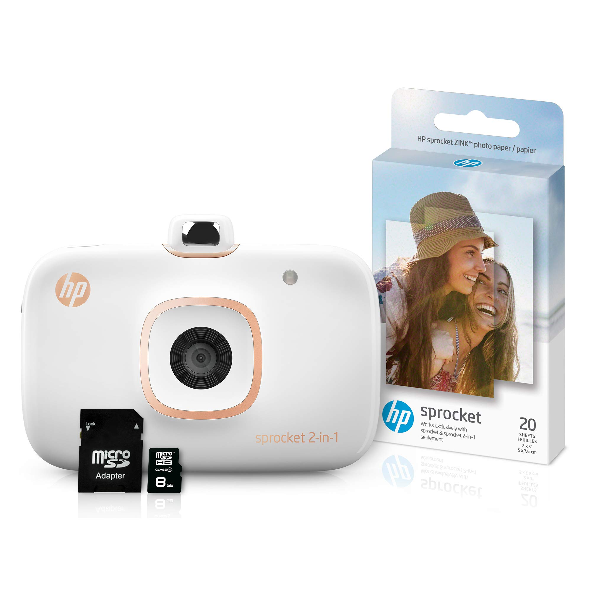 HP Sprocket 2-in-1 Portable Photo Printer & Instant Camera Bundle with 8GB MicroSD Card and ZINK Photo Paper - White (5MS95A) by HP