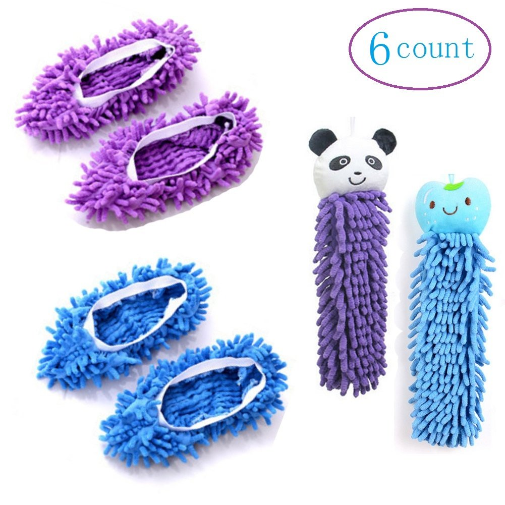 (2 Pairs) Mopping Slipper Shoes Cover+(2 pcs) Coral Insect Absorbent Hand Towel,Soft Washable Reusable Microfiber Shoes Socks Floor Dust Dirt