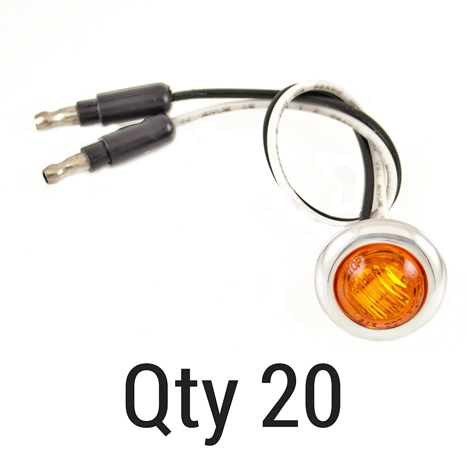 Qty 20-3//4 AMBER 3 LED CLEARANCE SIDE MARKER BULLET LIGHTS CHROME RING TRAILER