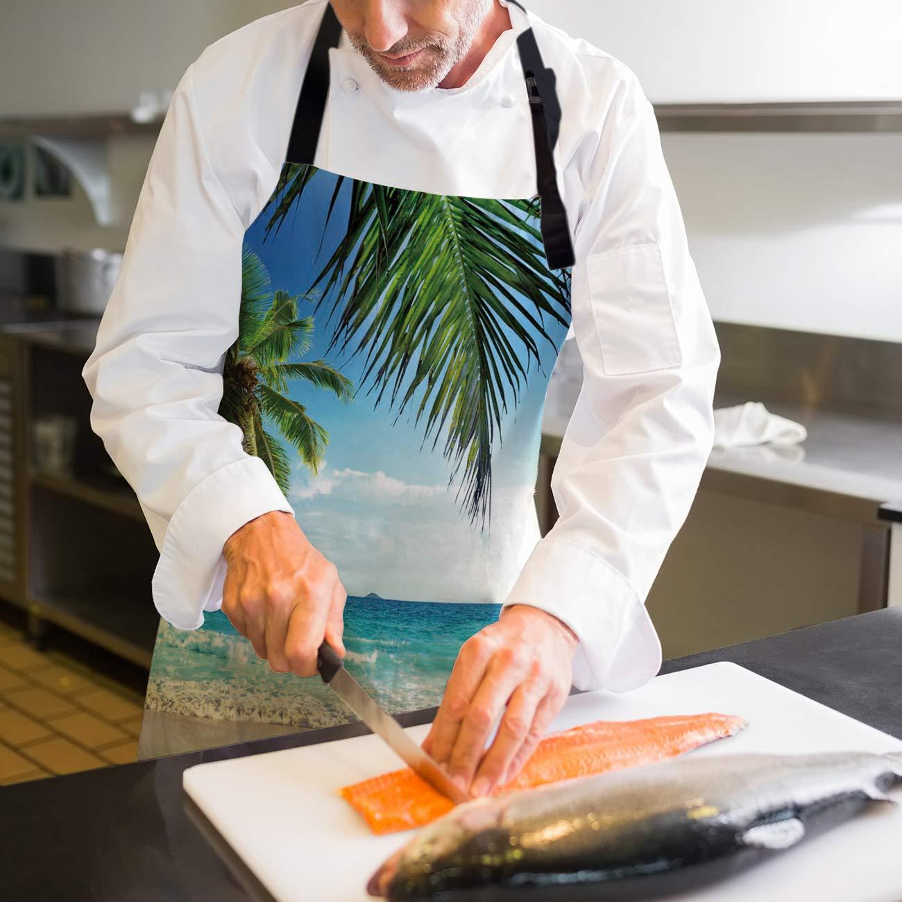 HomeCreator - Delantal de Cocina Ajustable con diseño de Olas de ...